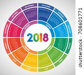 colorful round calendar 2018... | Shutterstock .eps vector #708601771