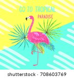 tropical postcard. summer... | Shutterstock .eps vector #708603769