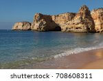 view of sand beaches with rocks ... | Shutterstock . vector #708608311