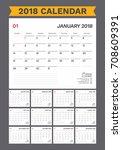 2018 calendar planner. simple... | Shutterstock .eps vector #708609391