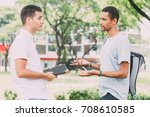 serious young student friends... | Shutterstock . vector #708610585