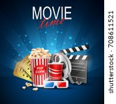 movie design above background... | Shutterstock . vector #708611521