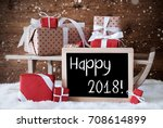 sleigh with gifts  snow ... | Shutterstock . vector #708614899