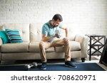 good looking hispanic man... | Shutterstock . vector #708620971
