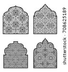 collection of arabic windows... | Shutterstock .eps vector #708625189