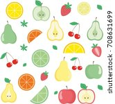 colored berries and fruits.... | Shutterstock .eps vector #708631699