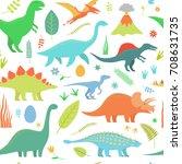 dino seamless pattern.   Shutterstock .eps vector #708631735