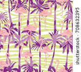 flamingo pattern  vector ... | Shutterstock .eps vector #708632395