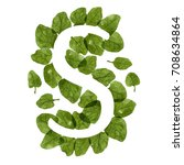 letter s made of green spinach... | Shutterstock . vector #708634864