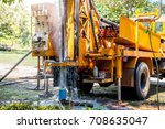 ground water hole drilling... | Shutterstock . vector #708635047