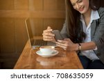 young business woman checking... | Shutterstock . vector #708635059