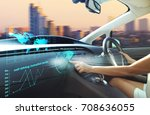 self driving autopilot mode  ... | Shutterstock . vector #708636055