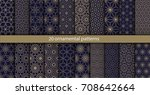 big set of 20 oriental patterns.... | Shutterstock .eps vector #708642664