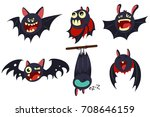 vampire bat vector cartoon... | Shutterstock .eps vector #708646159