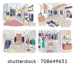 colorful drawings of clothing... | Shutterstock .eps vector #708649651