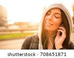 a beautiful young woman... | Shutterstock . vector #708651871