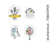 cooking class linear design... | Shutterstock .eps vector #708653935