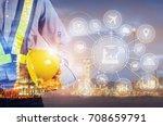 double exposure of engineer... | Shutterstock . vector #708659791
