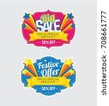 Festival Sale Banner, Sticker Design Set