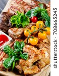 assorted delicious grilled meat ... | Shutterstock . vector #708665245