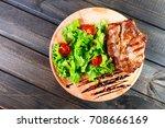 grilled pork chop steak with... | Shutterstock . vector #708666169