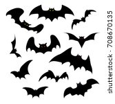 set of silhouettes of bats with ... | Shutterstock . vector #708670135