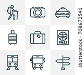 traveling outline icons set.... | Shutterstock .eps vector #708672541