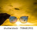 beautiful yellow sunset cloudy... | Shutterstock . vector #708681901