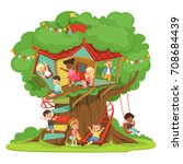 children playing and having fun ... | Shutterstock .eps vector #708684439