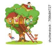kids having fun in the... | Shutterstock .eps vector #708684727