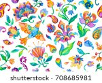 Stock photo watercolor wild rose nightingale birds with leaves paisley on flower wallpaper with humming bird 708685981