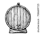 old wooden barrel with a tap.... | Shutterstock .eps vector #708689725