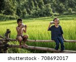 rural children communicate with ... | Shutterstock . vector #708692017