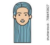 beautiful woman head avatar...   Shutterstock .eps vector #708692827