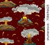 a set of volcanoes of varying... | Shutterstock .eps vector #708696625