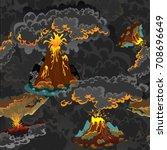 a set of volcanoes of varying... | Shutterstock .eps vector #708696649