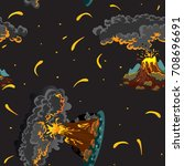 a set of volcanoes of varying... | Shutterstock .eps vector #708696691