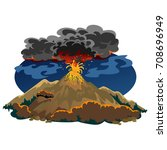 a set of volcanoes of varying... | Shutterstock .eps vector #708696949