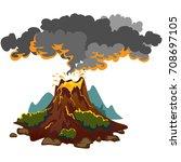 a set of volcanoes of varying... | Shutterstock .eps vector #708697105