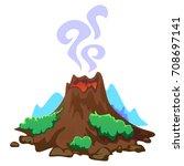 a set of volcanoes of varying... | Shutterstock .eps vector #708697141