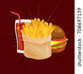 set of tasty burgers grilled... | Shutterstock .eps vector #708697159
