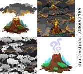 a set of volcanoes of varying... | Shutterstock .eps vector #708697189