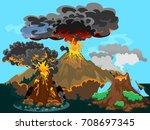 a set of volcanoes of varying...   Shutterstock .eps vector #708697345