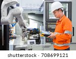 maintenance engineer programing ... | Shutterstock . vector #708699121