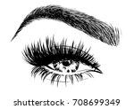 stylish eye makeup | Shutterstock .eps vector #708699349