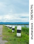 a kilometer stone near the...   Shutterstock . vector #708704791