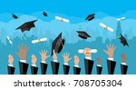 hands of graduates throwing... | Shutterstock .eps vector #708705304