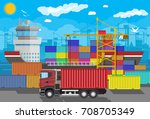river ocean and sea freight... | Shutterstock .eps vector #708705349