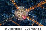aerial view  road roundabout ... | Shutterstock . vector #708706465