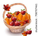 pumpkins and apples in a basket.... | Shutterstock .eps vector #708707461